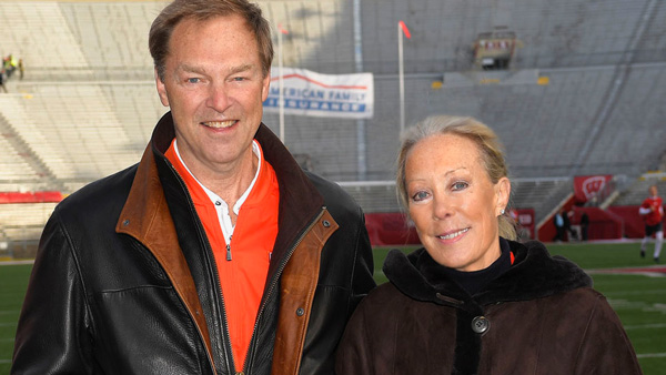 Stu and Nancy Levenick at Illinois' Memorial Stadium