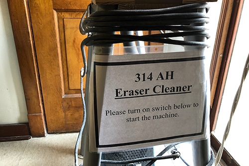 A chalk vacuum created by building service workers in Altgeld Hall. Photo by Samantha Jones Toal