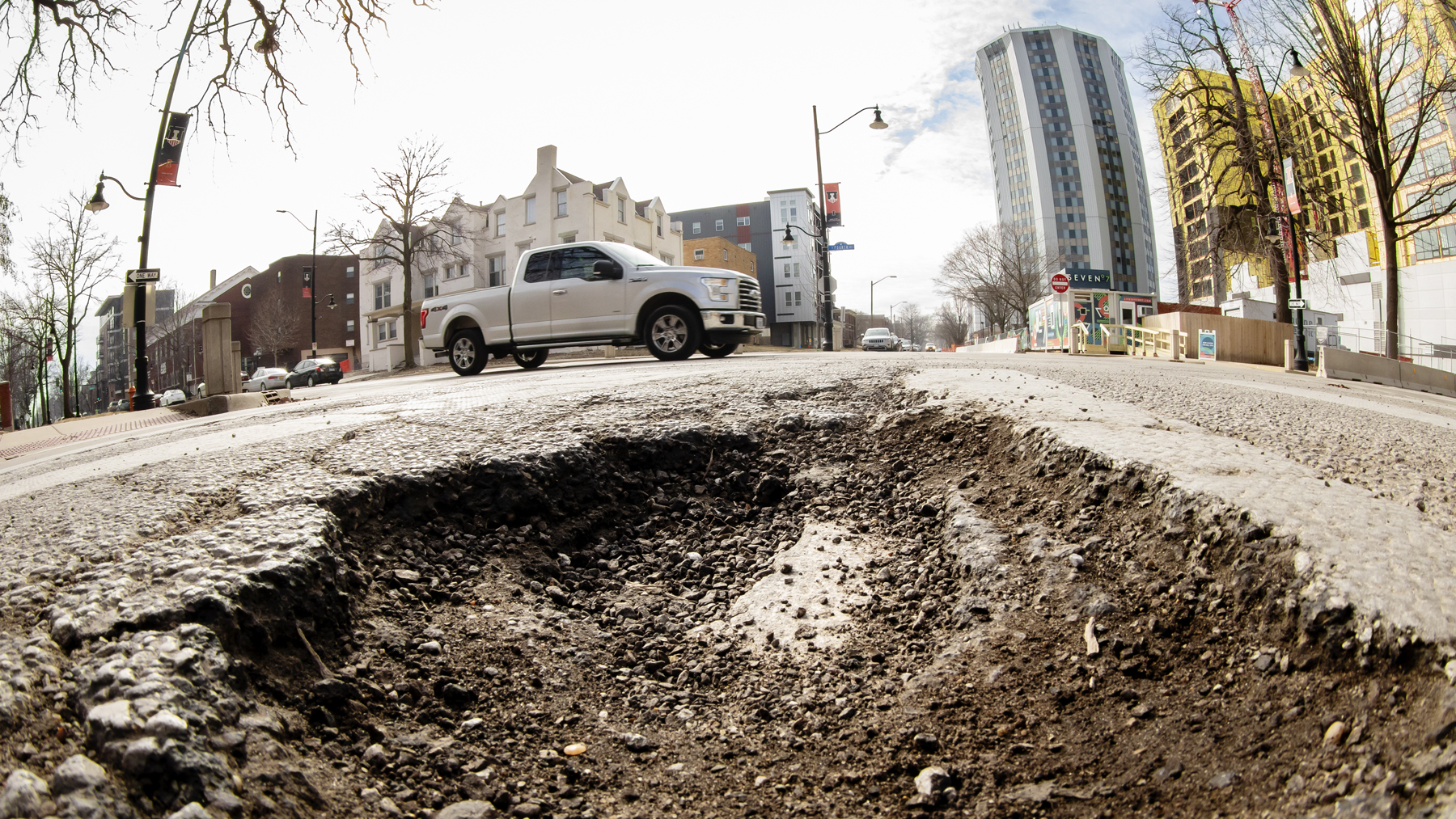 Pothole on the campus of University of Illinois at Urbana-Champaign. Photo by L. Brian Stauffer