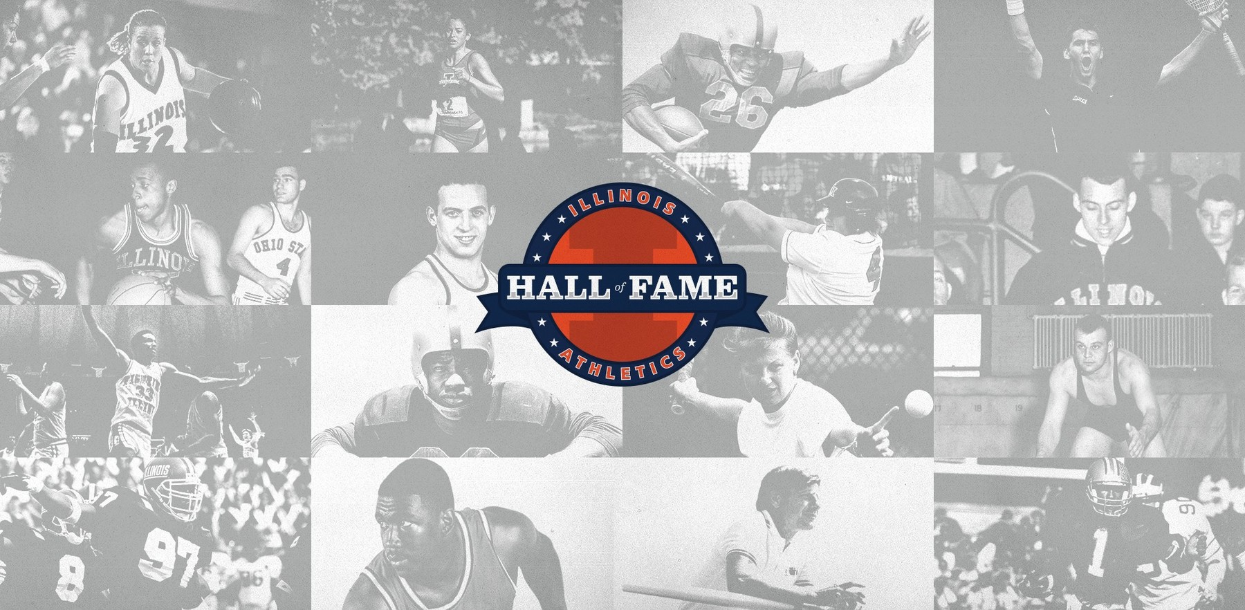 Illinois Athletics Hall of Fame logo and black and white images of athletes
