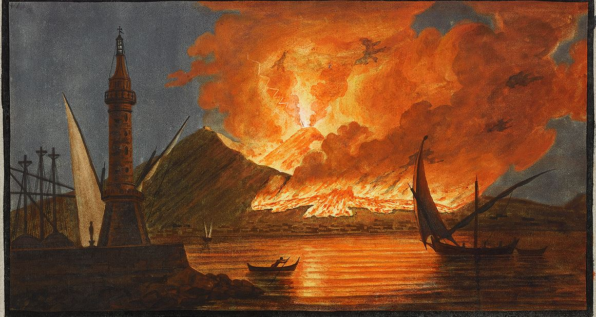 Ancient depiction of an eruption of Mount Vesuvius