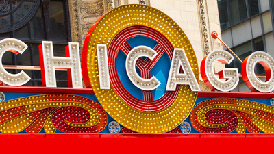 close up of iconic Chicago Theater marquee