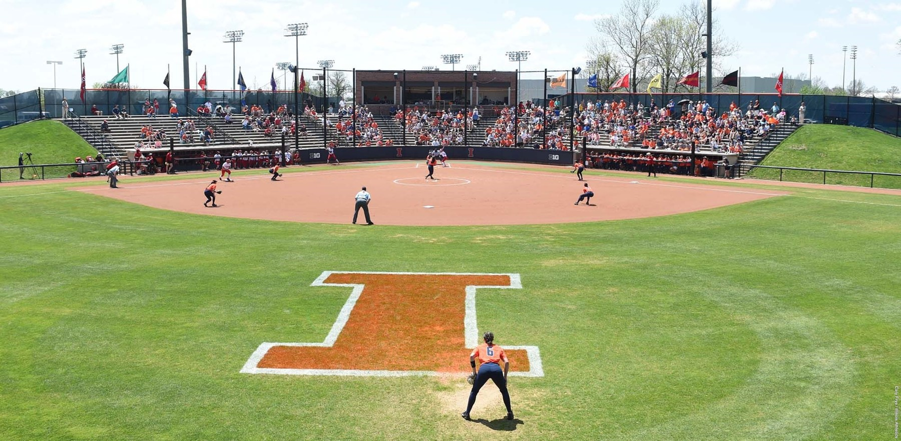 wide view of Eichelberger Field with an Illini Softball game ongoing