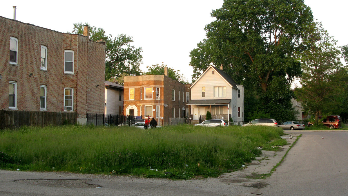 grass covered lot in Chicago's Englewood neighborhood. Photo by David Schaper