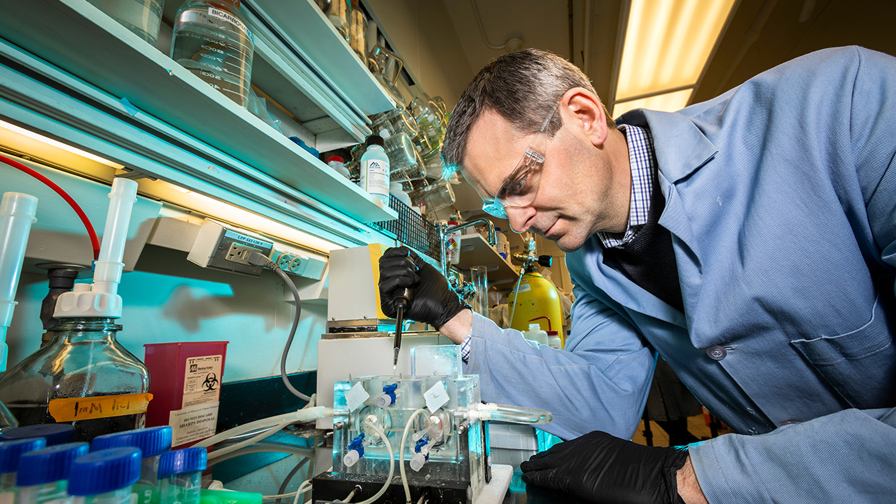 Professor Marty Burke working in a lab. Photo by Fred Zwicky