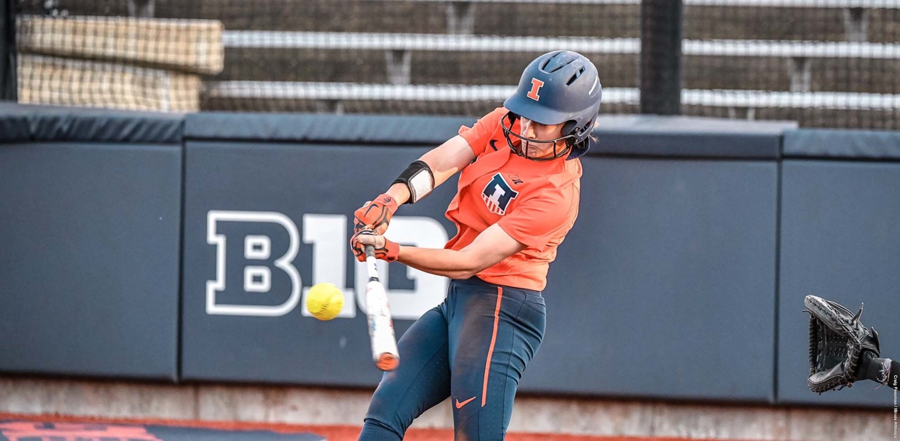 unidentified Illini batter puts a powerful swing on the ball