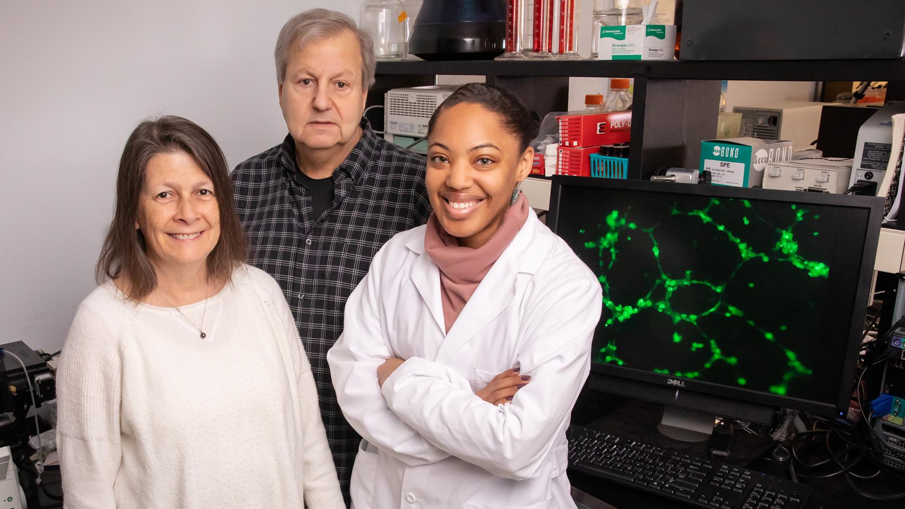 The researchers: food chemistry professor Nicki Engeseth, food science professor William Helferich and graduate student Ashley Oyirifi.  Photo by L. Brian Stauffer