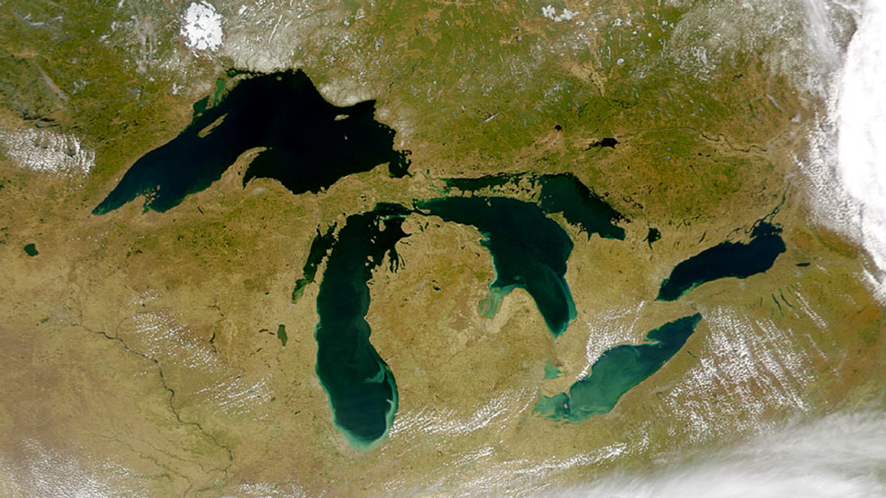 The Great Lakes as seen from space. Photo by:  SeaWiFS Project, NASA/Goddard Space Flight Center, and ORBIMAGE