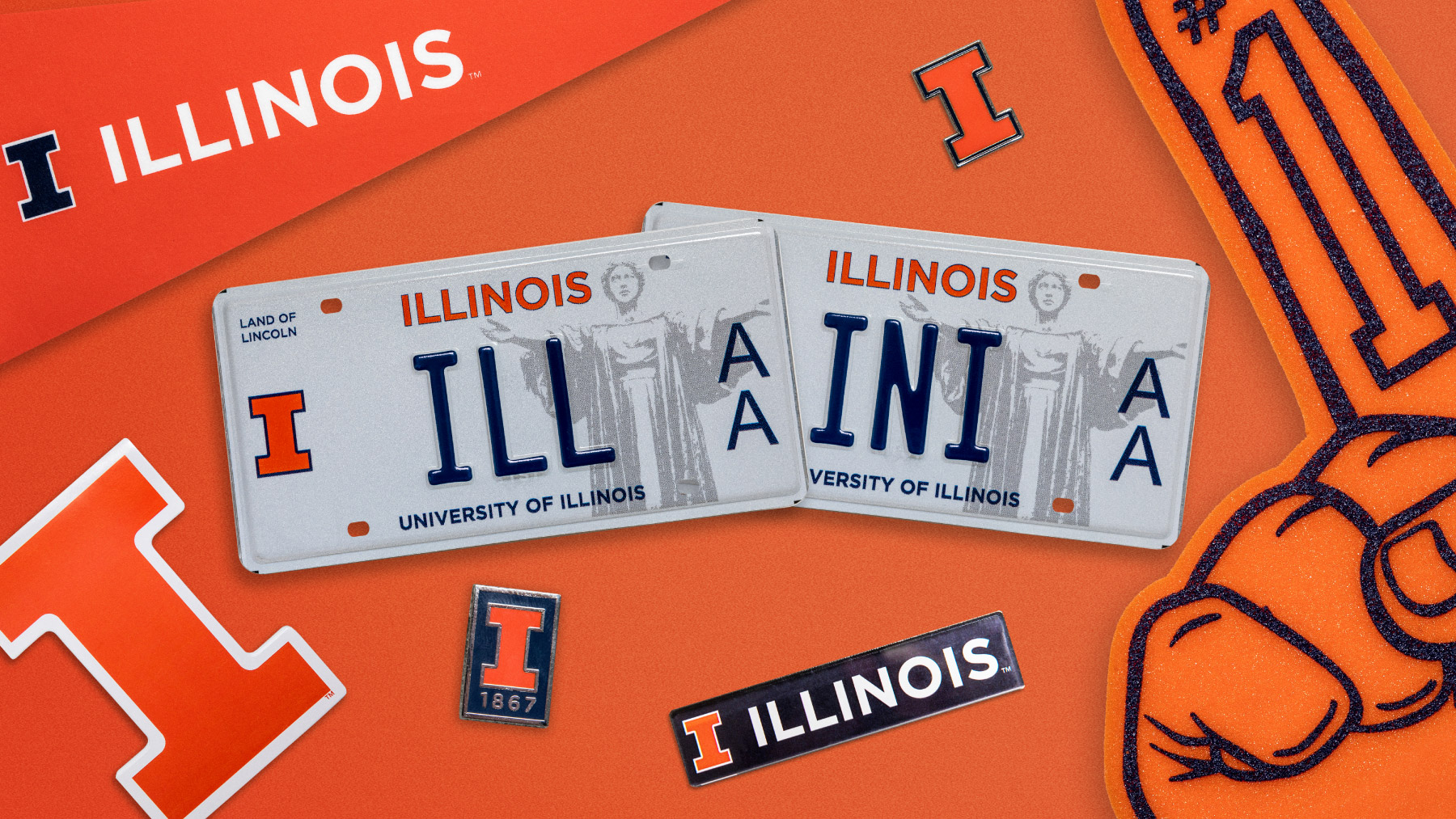 two of the new license plates, one spelling I-L-L, and the other spelling I-N-I. Graphic by Michael Vincent