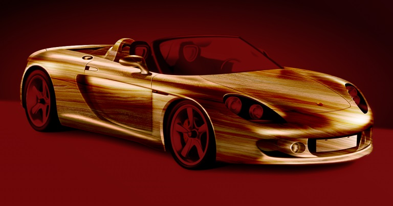 computer-generated image of sports car that has a wood-grain look to it's exterior