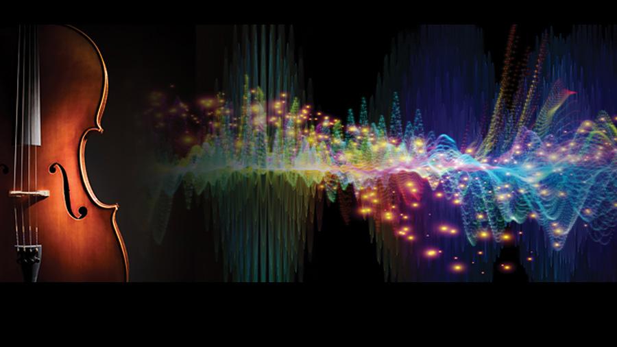 graphic of cello beside quantum universe depiction