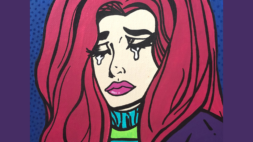 cartoon image of crying woman by Brook Elam, a Champaign artist who makes pop comic art paintings