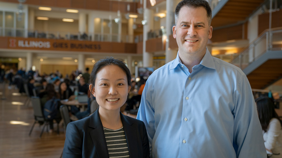 Gies College of Business professors Michael Williamson and Laura Wang