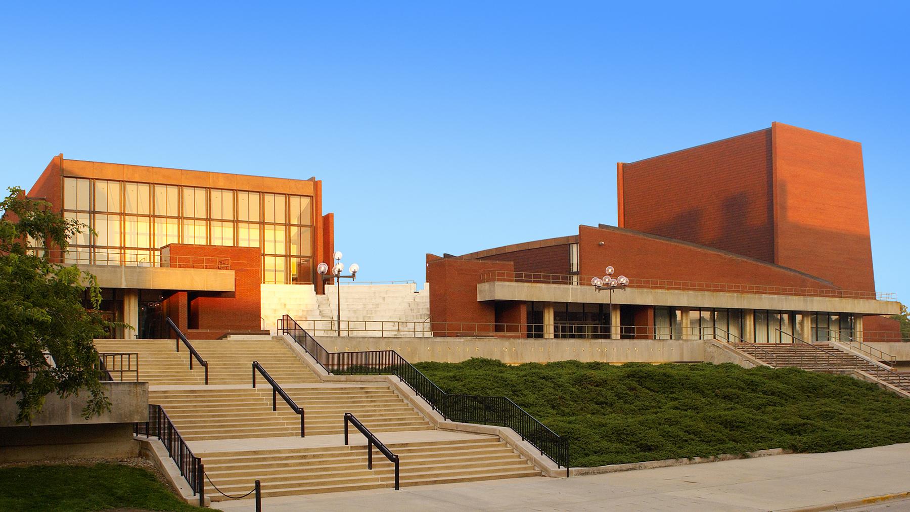 exterior of the Krannert Center for the Performing Arts in golden light