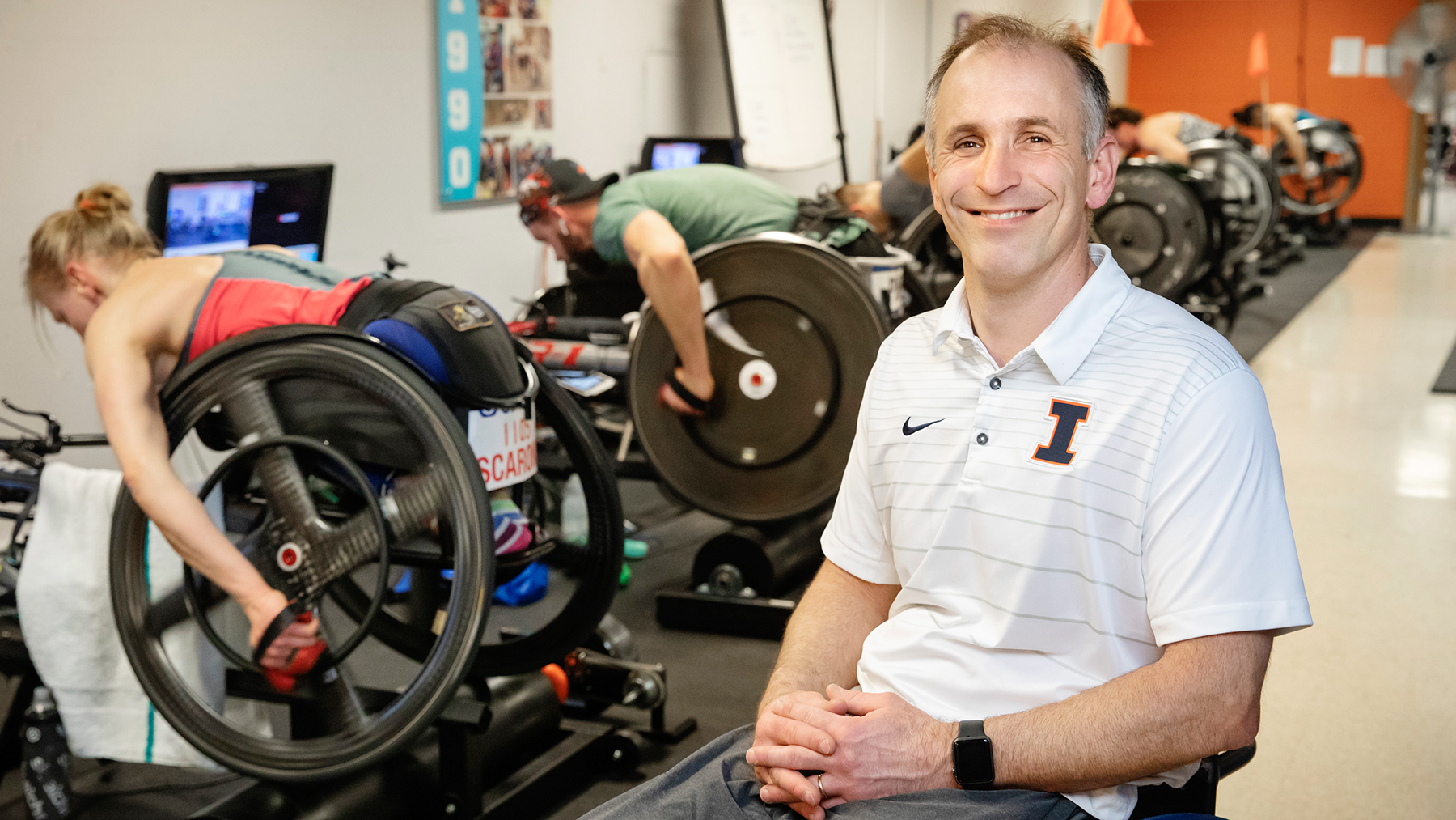 Adam Bleakney, the head coach of the men's and women's wheelchair track and road-racing team, and five other academic professionals on the Urbana campus are recipients of this year's CAPE awards.  Photo by L. Brian Stauffer