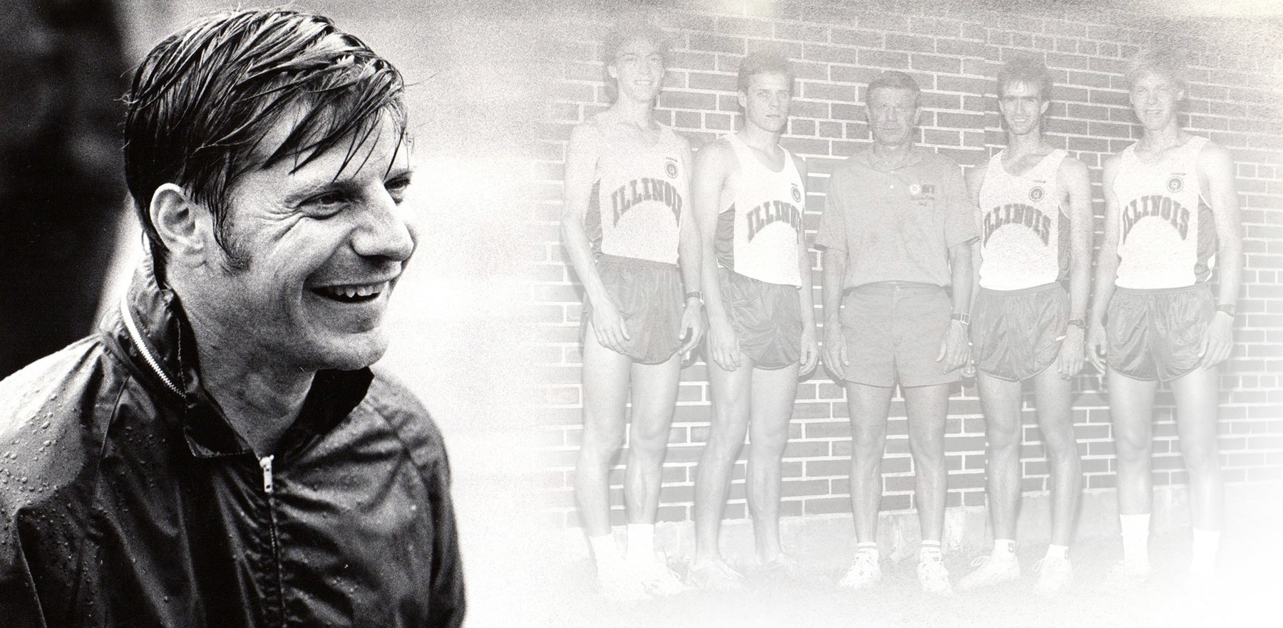 two black and white images - Gary Wieneke smiling headshot, and Wieneke with four track athletes circa 1980s