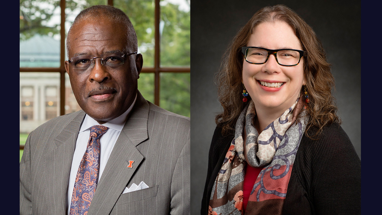 Chancellor Robert Jones, Professor Catherine Murphy. Photos by L. Brian Stauffer