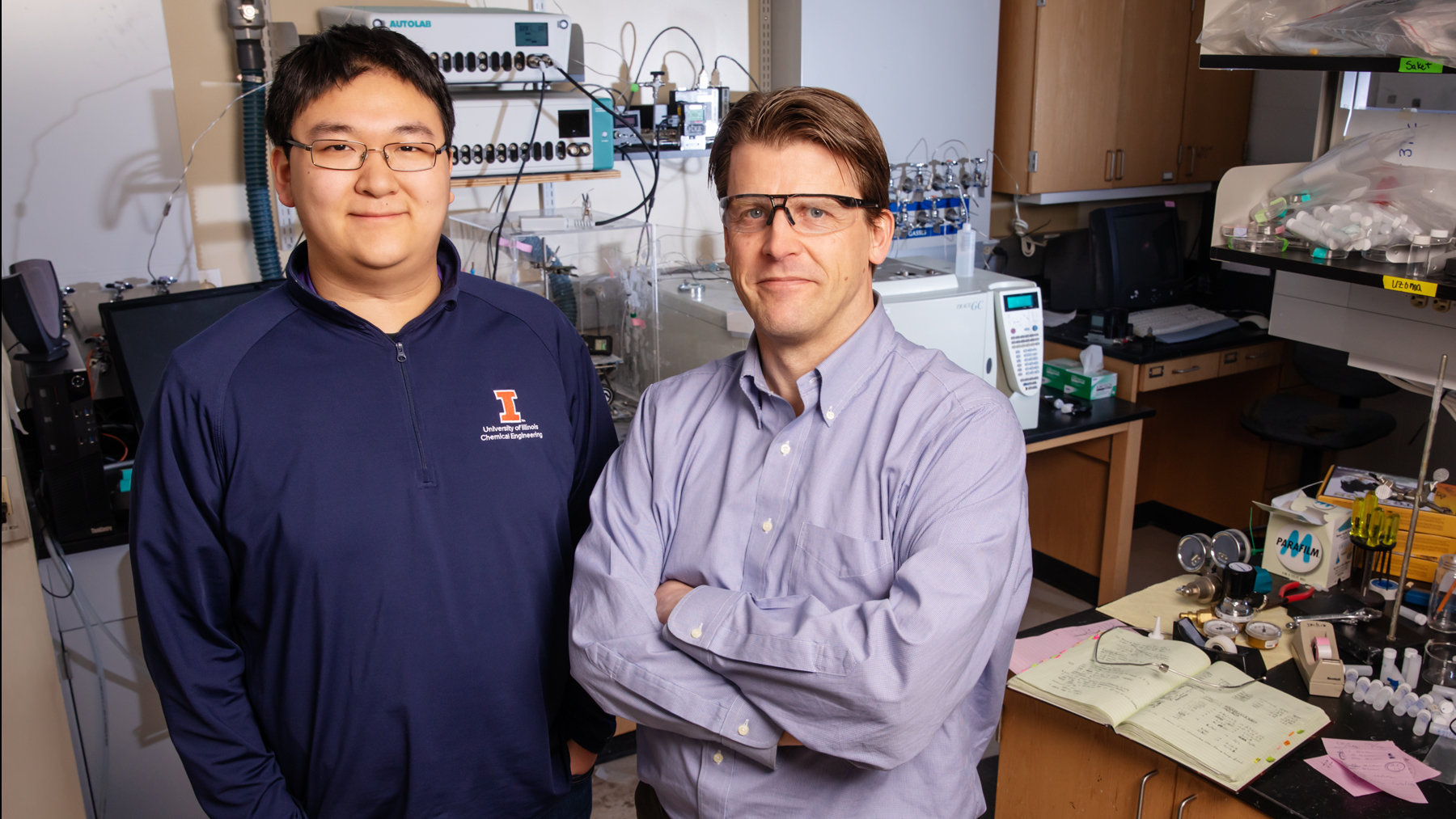Chemical and biomolecular engineering professor Paul Kenis and graduate student Shawn Lu are co-authors of this study. Photo by Brian Stauffer