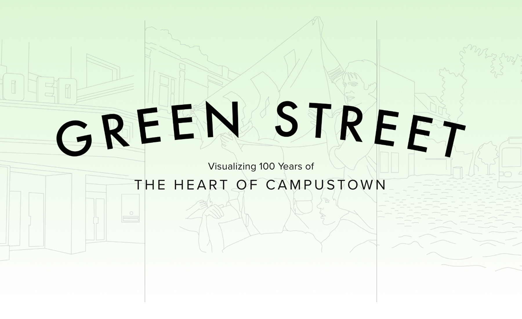 Title slide graphic. Line drawings of campustown scenes