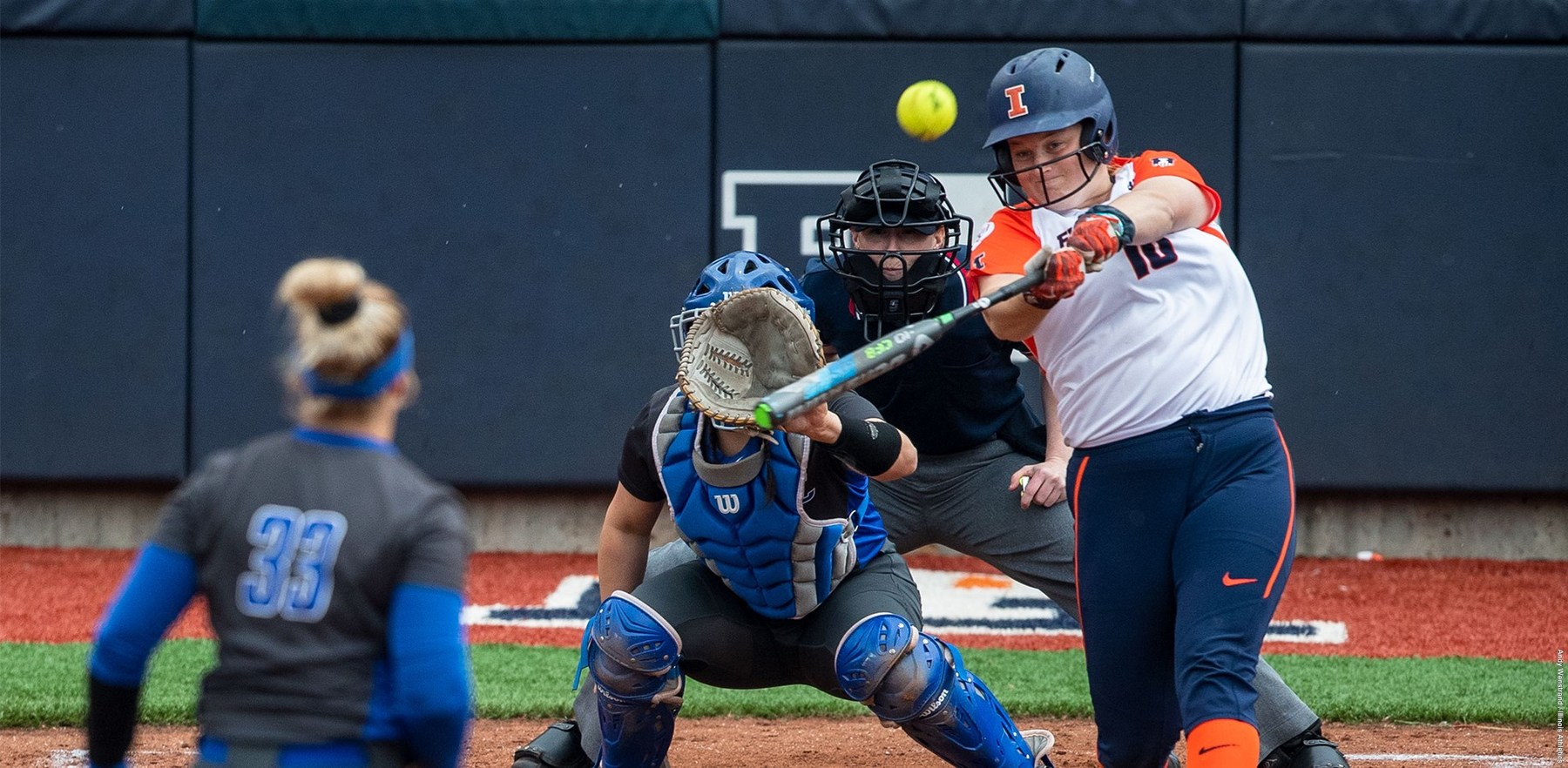 Illini sophomore Shelby Stauffenberg blasts a home run