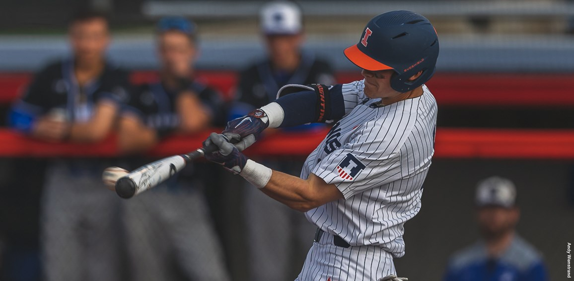 an Illini batter makes contact with a pitch