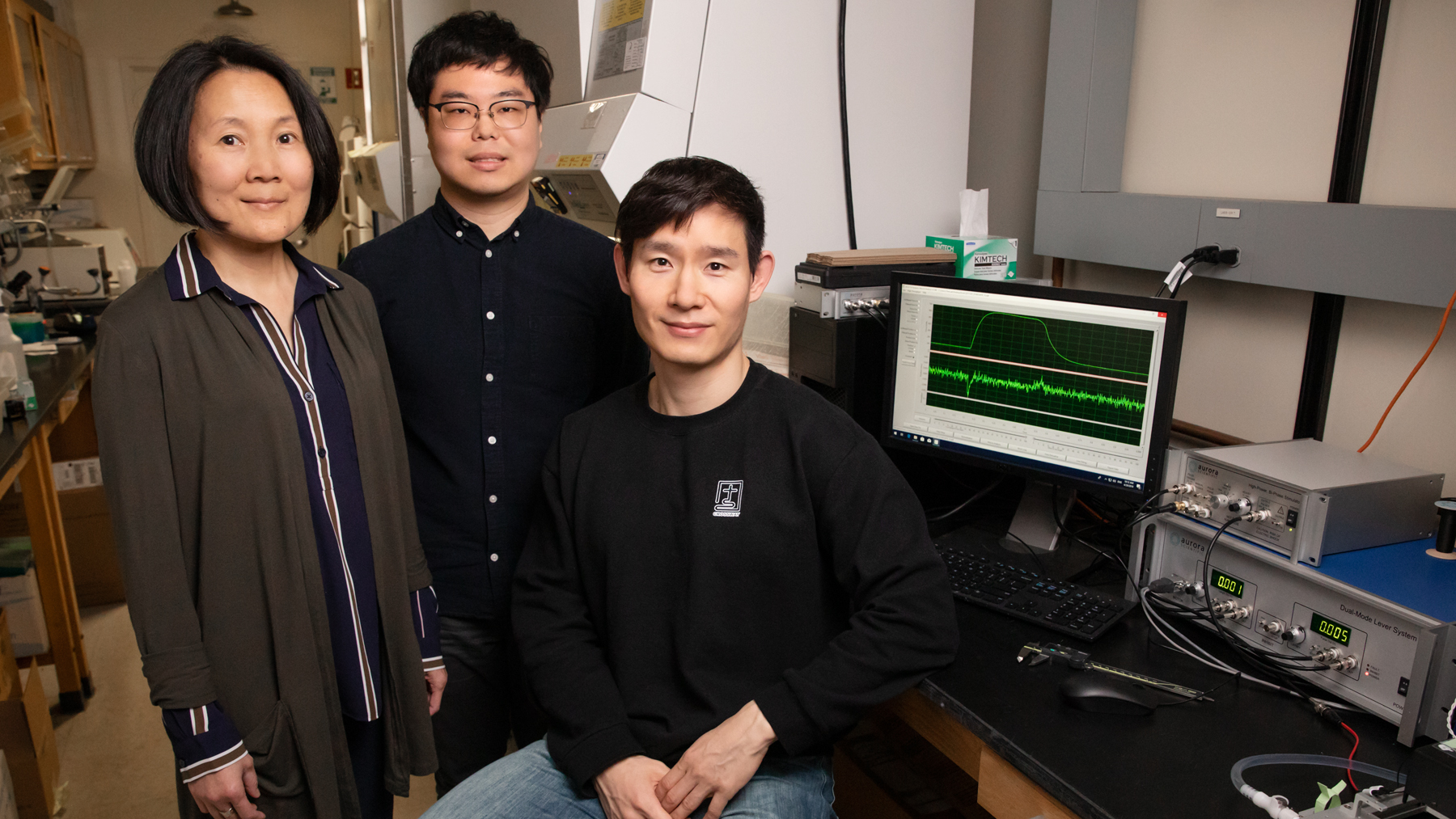 professor Jie Chen and graduate students Kook Son and Jae-Sung You discovered a new role for LRS in muscle repair. Photo by L. Brian Stauffer