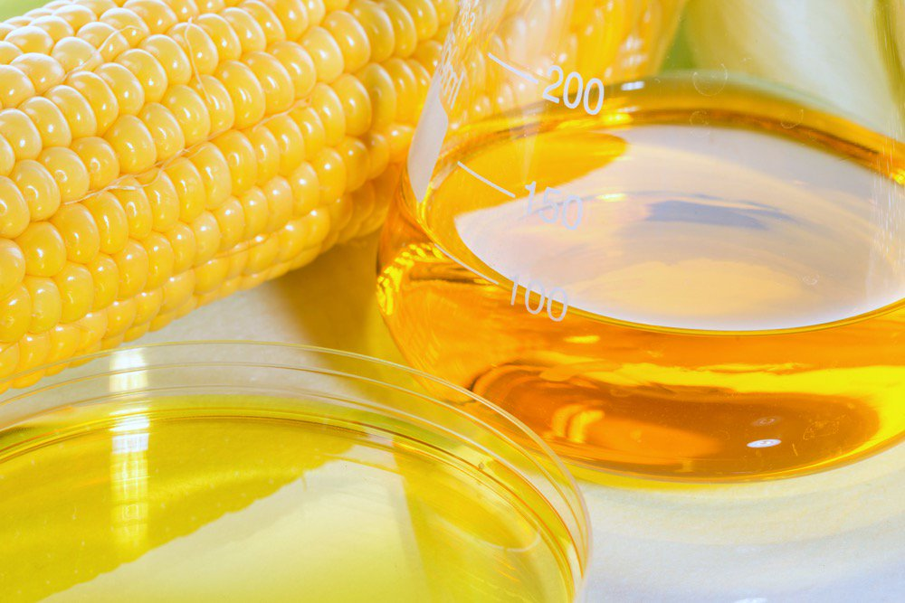 An ear of corn and vial of ethanol