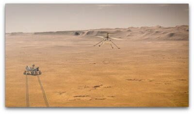 When NASA's Ingenuity Mars Helicopter attempts its first test flight on the Red Planet, the agency's Mars 2020 Perseverance rover will be close by, as seen in NASA's concept.