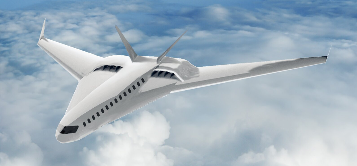 Artist rendering of a hydrogen-powered aircraft