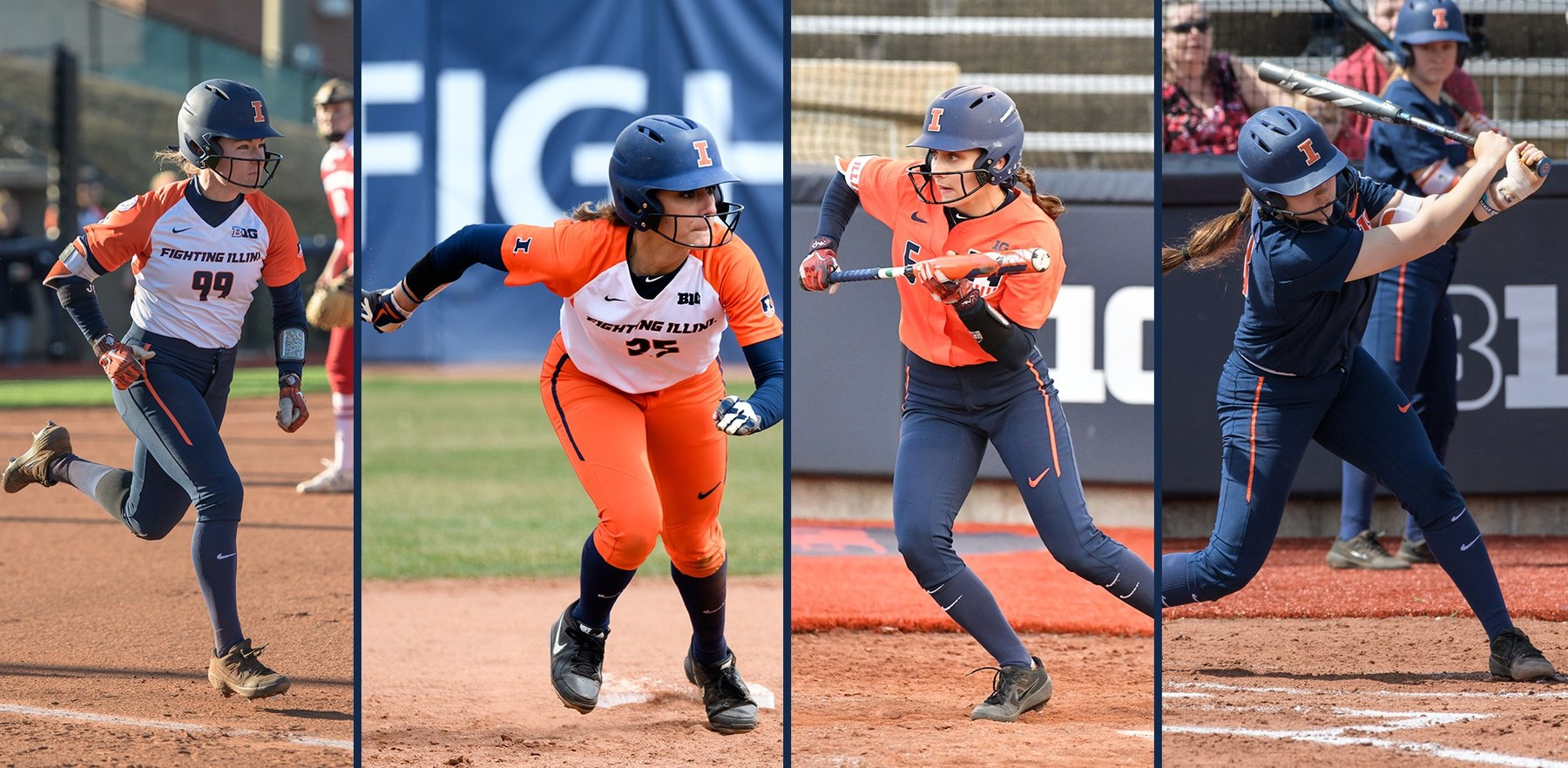 Illini softball players in action