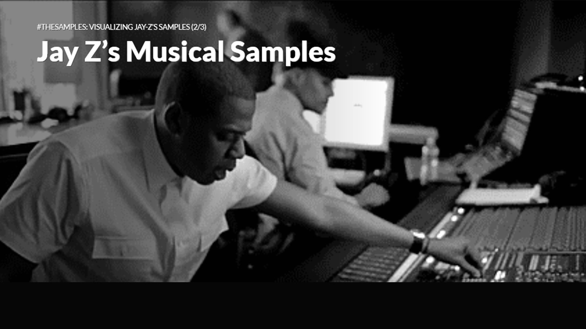 """#TheJayZMixtape."" It uses interactive visualizations to look at Jay-Z's collaborations with other artists, the samples he uses in his work and his word choices."