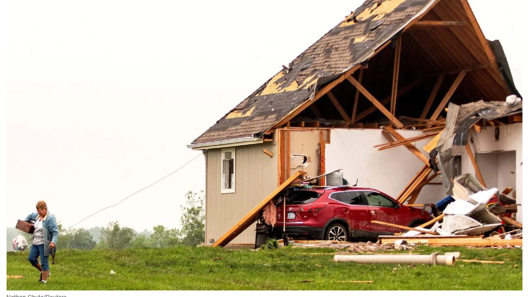 tornado damaged house. Photo by Nathan Chute/Reuters
