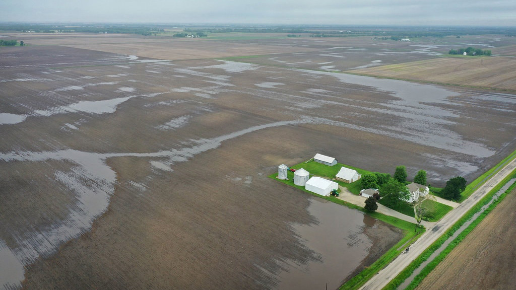Water pools in rain-soaked fields near Gardner, Ill. Scott Olson/Getty Images
