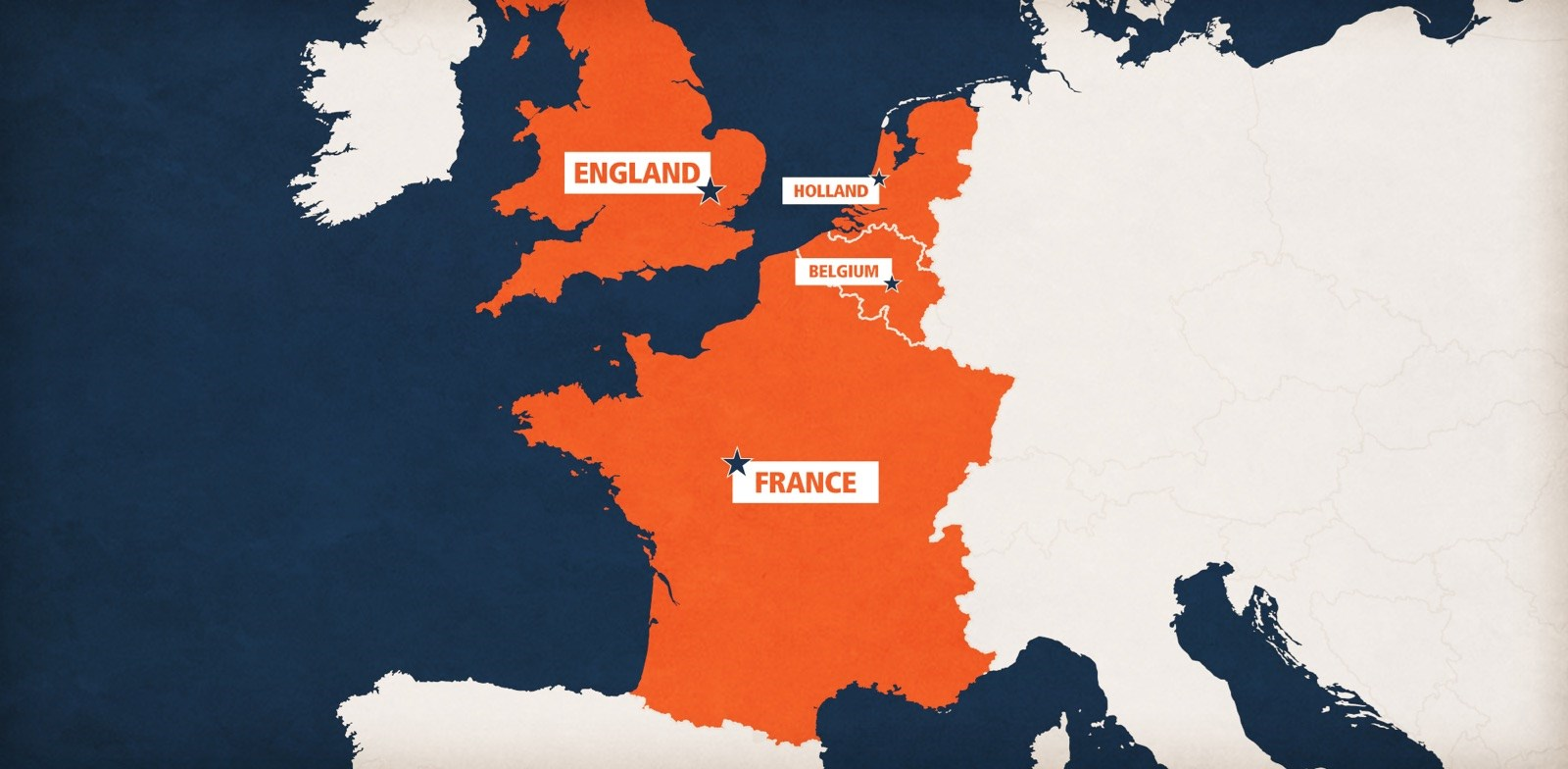simple map of Europe with destination countries colored orange