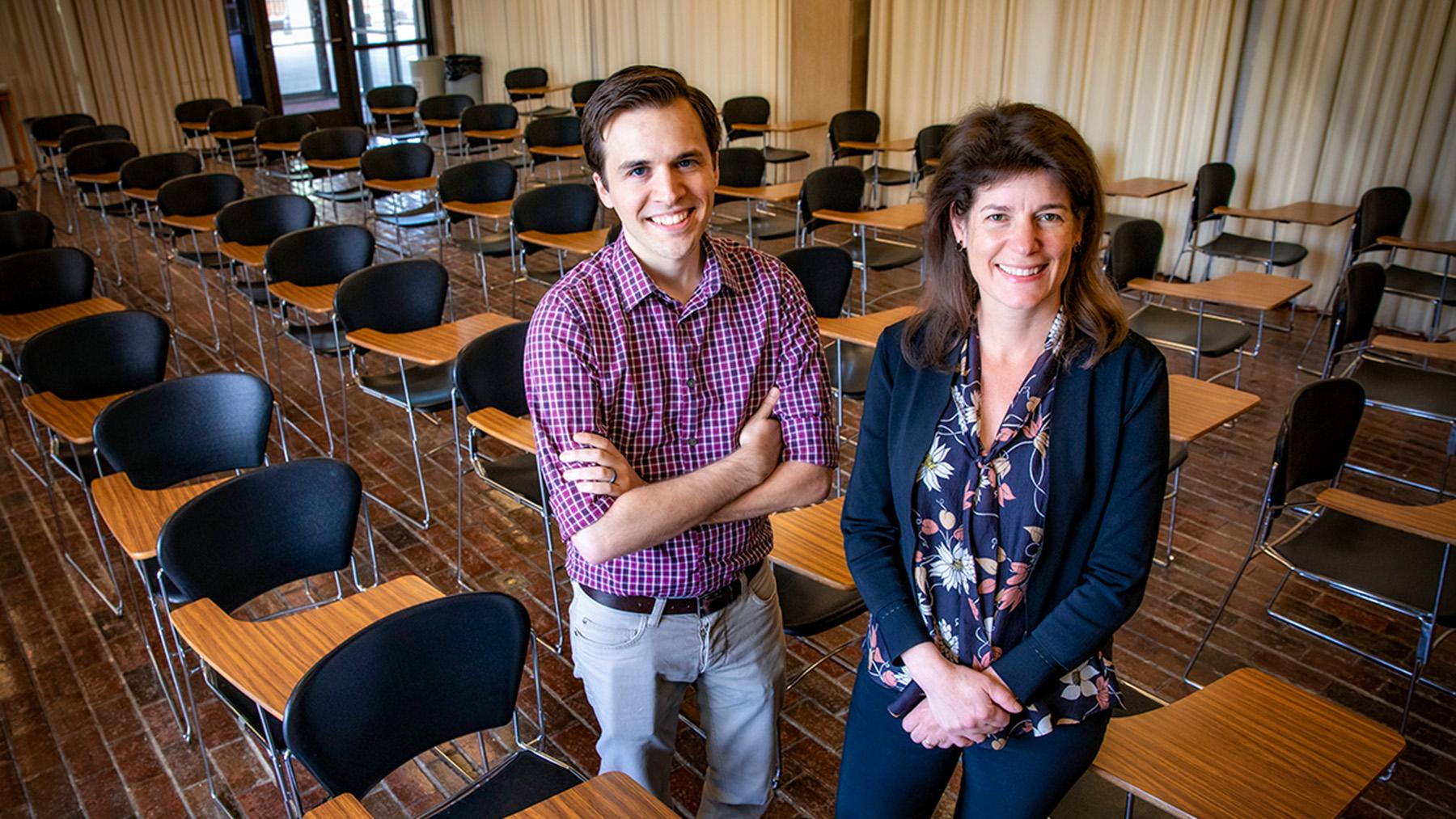psychology professor Eva Pomerantz and graduate student Michael Barger.  Photo by Fred Zwicky