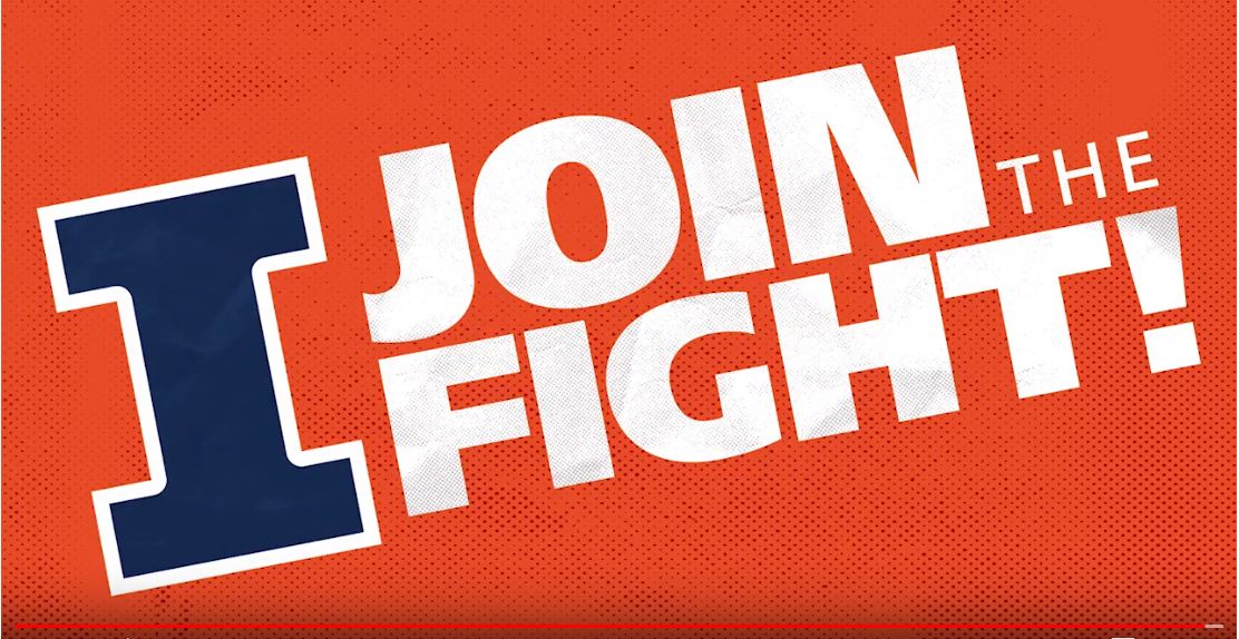 Join the Fight graphic - words on Illini orange background