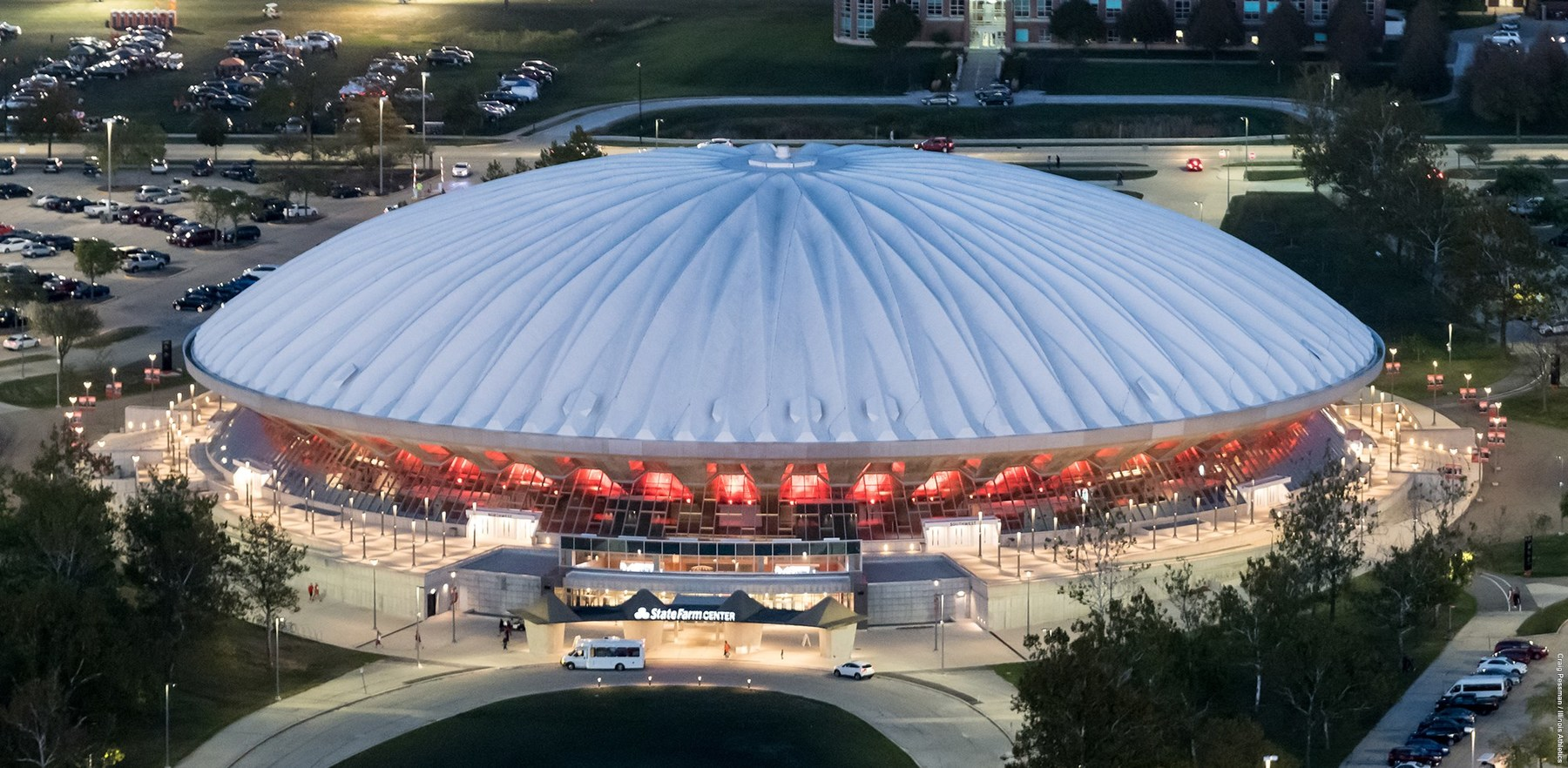 aerial view of State Farm Center