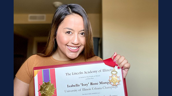 Issy Marquez displays her Lincoln Academy Student Laureate Award. (Photo submitted.)