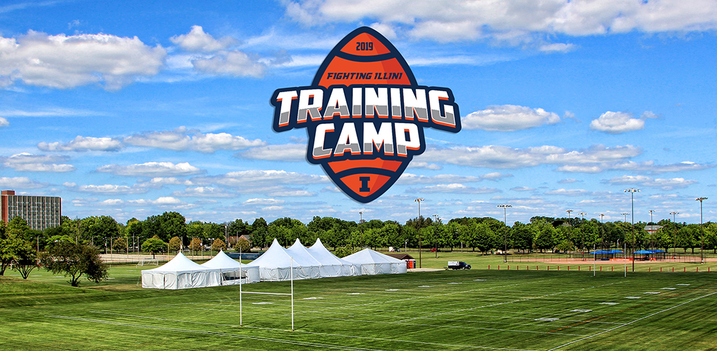 tents set up for training camp at the campus recreation fields