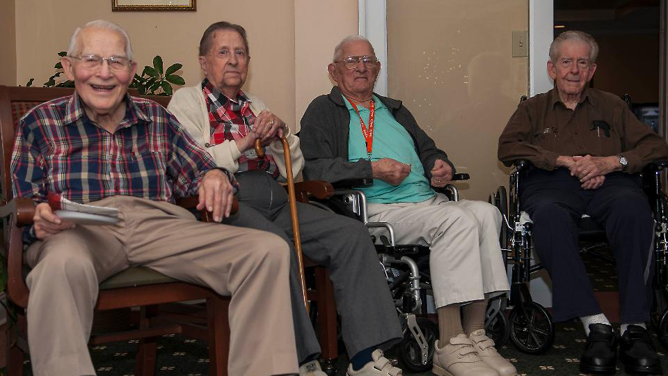 Four elderly men who regularly dine together. Getty images