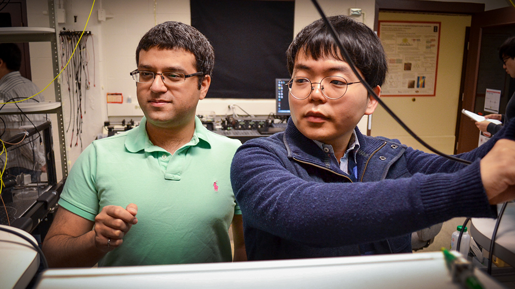 Mechanical science and engineering professor Gaurav Bahl, left, and graduate student Seunghwi Kim.  Photo courtesy Julia Stackler