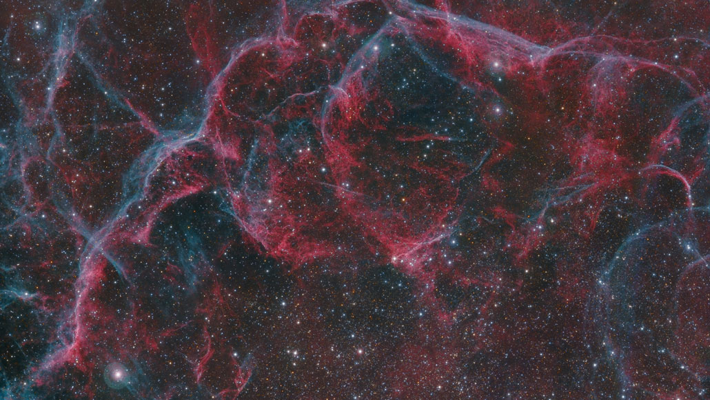 part of a supernova remnant, Vela, is shown.  HAREL BOREN/WIKIMEDIA COMMONS