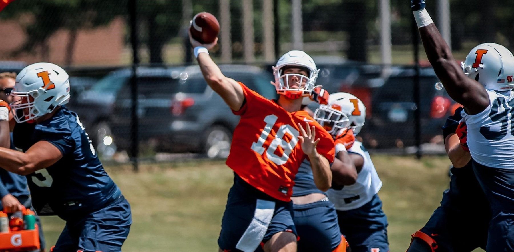 Brandon Peters scrimmages in training camp