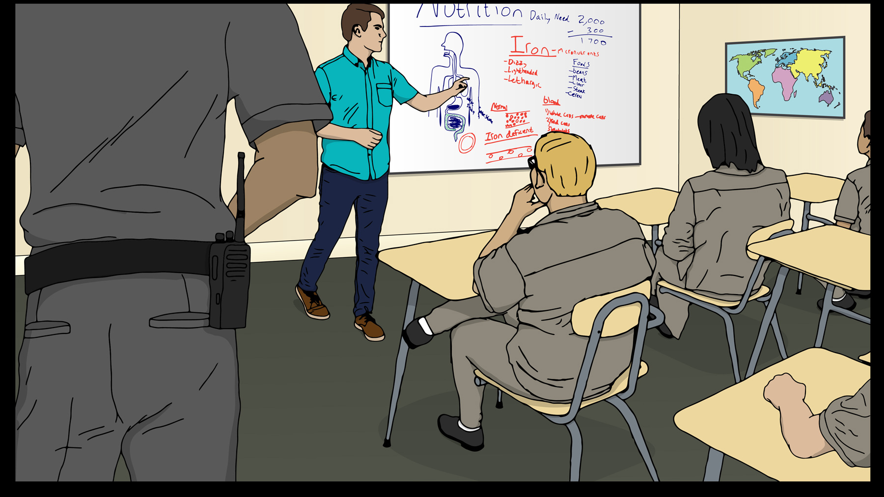 Illustration of youth and teacher in guarded classroom. Illustration by Katie Miller