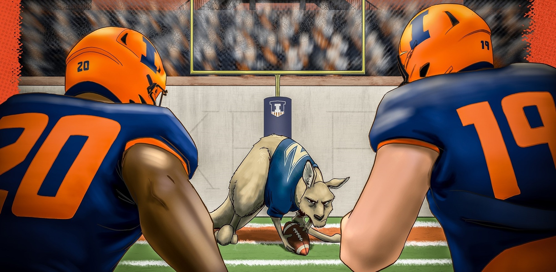 graphic image of illini linebackers staring down the Akron Zips mascot, Zippy, which appears to be a kangaroo