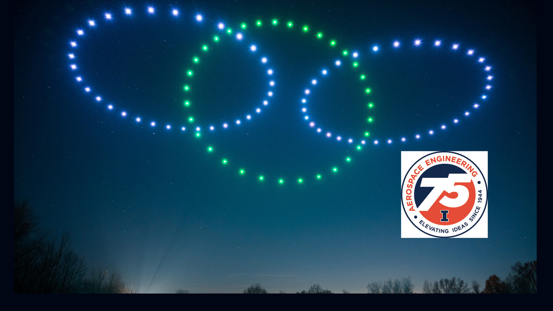 Photo of lighted drones flying in formation provided by Firefly Drone Shows