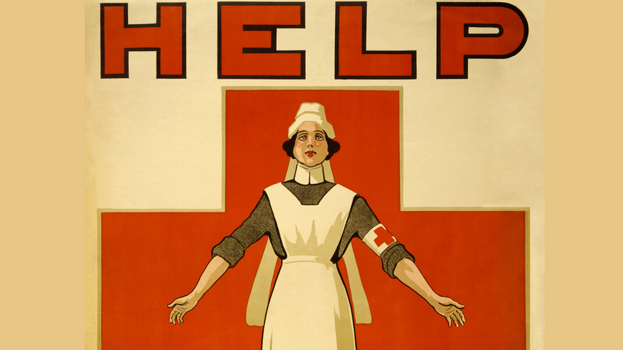 Red Cross poster recruiting nurses during World War I