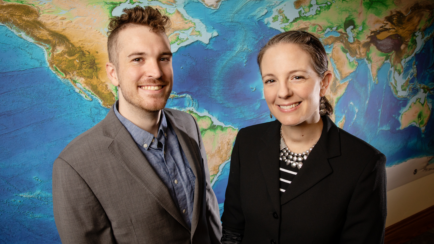 University of Illinois geologists Jack Albright and professor Patricia Gregg.  Photo by L. Brian Stauffer