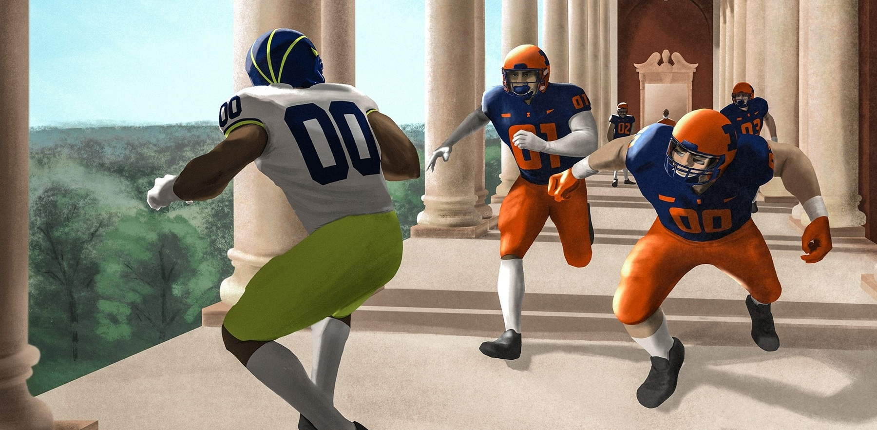 virtual reality image of Illini defenders chasing down a Wolverine player among the columns of Memorial Stadium