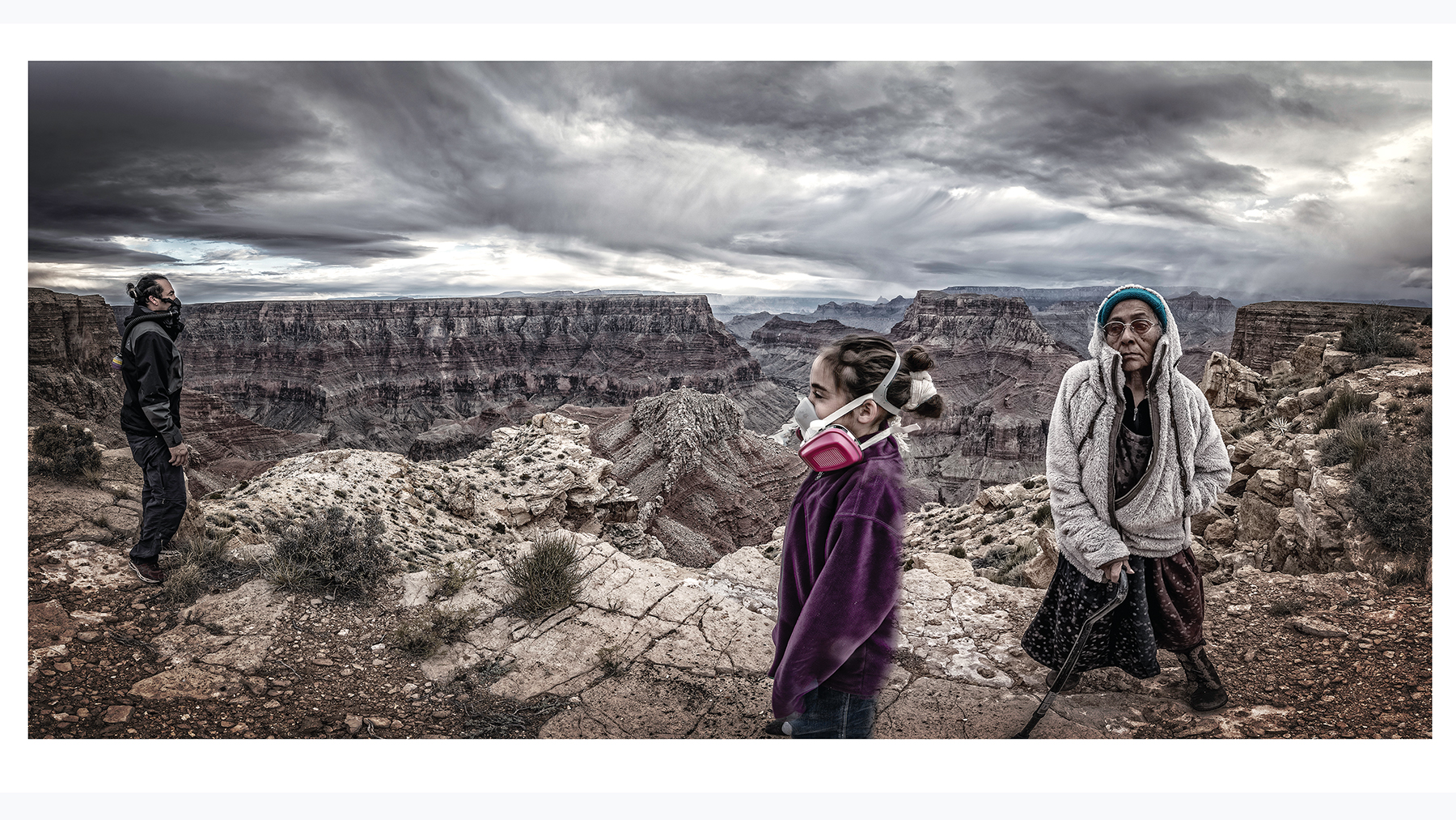 "a composite image made by Native American photographer Will Wilson of himself, his daughter and his mother on the rim of the Grand Canyon in ""AIR: Confluence of Three Generations."""